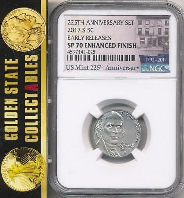 2017 S .05 Nickel From  225Th Anniversary Enhanced Set Ngc Sp70  Early Releases