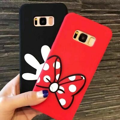 For Samsung Galaxy S8 -Soft Silicone Rubber Phone Case Cover Minnie Mickey Hands