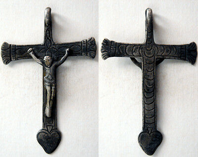 PCW-AN282-SOUTH AMERICA. Antique Silver Cross. Ca. 17th-18th. Century. Intact.