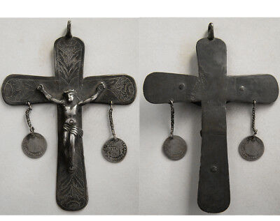 PCW-AN283-SOUTH AMERICA. Antique Silver Cross. Ca. 17th-18th. Century with coins