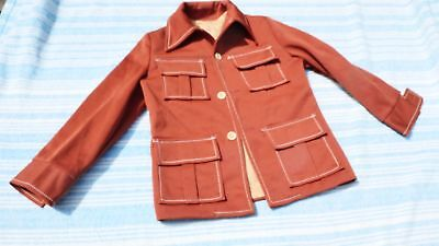 VINTAGE 70s BROWN lined SUIT JACKET polyester coat retro LEISURE SUIT boys 10