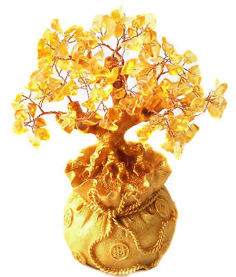 "Feng Shui Citrine/ 7.5"" Yellow Crytal Gem Money Tree in Money Bag Pot for wealth"