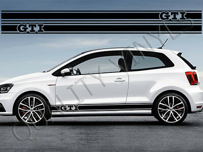 Vw polo gti side racing stripes volkswagen graphic decal stickers rs169
