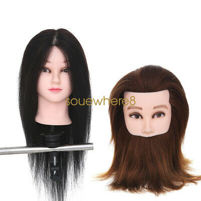 100% Real Hair + Beard Hairdressing Cut Training Head Male Mannequin with Clamp