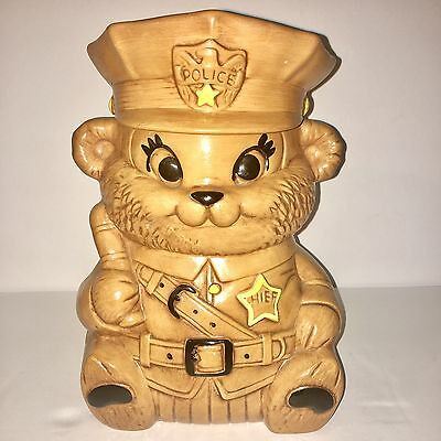 VINTAGE TWIN WINTON Police Chief Bear COOKIE JAR, VERY RARE, NO CHIPS