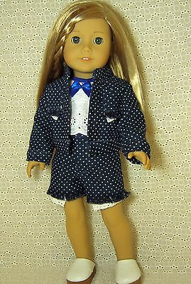 """Doll Clothes 4-PC Blue Denim Jacket + Shorts + Top fits American Girl 18""""#33"""