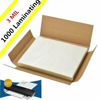 3 Mil Letter Size Clear Thermal Hot Laminating Pouches 1000 Pack- 9 x 11.5 Sheet