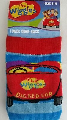 THE WIGGLES Boy Licensed socks sizes 2-5 , 5-8 , 9-12 Hot Potato Wags Red Car