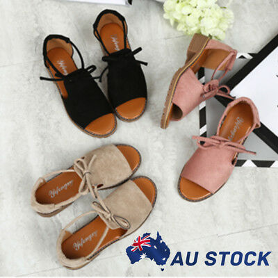 AU Women Flat Lace Up Wedge Espadrilles Summer Chunky Holiday Sandals Shoes Size