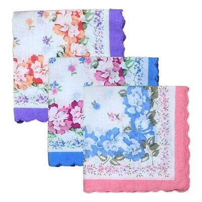 12 Womens Trimed Wavy Cotton Floral Taschentuch Wendding Party Hanky