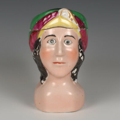 A Russian Kuznetsov Factory porcelain mug of a woman with head scarf