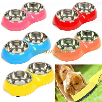 Double Stainless Steel Pet Dog Cat Puppy Bowl Water Food Feeder Dish Dinner UK