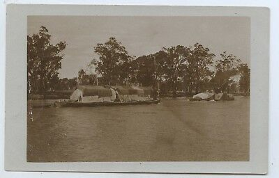 C1910 Rp Pu Postcard Paddle Steamer 'wanera' Pulling Barge River Murray Sa P64
