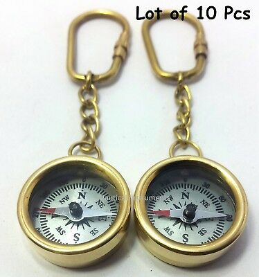 Lot  OF 10  VINTAGE STYLE SOLID BRASS POLISH FINISHED POCKET COMPASS KEY CHAIN