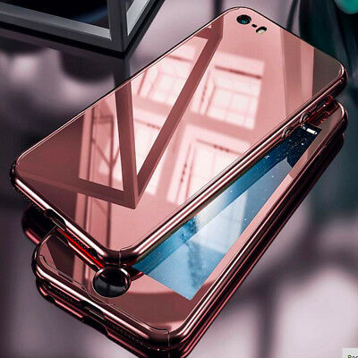 Luxury 3D Mirror Plating FUll Body Case+Temper Glass Cover For iPhone 7s 6 Plus