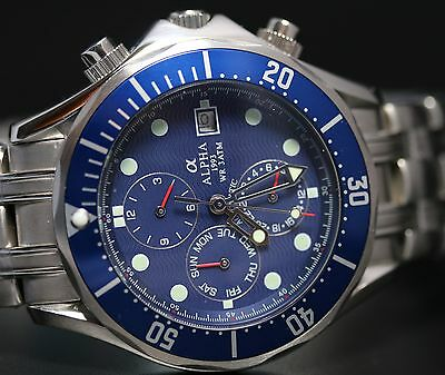 alpha Seamaster Multi function Automatic Gents Watch Blue Ripple Dial