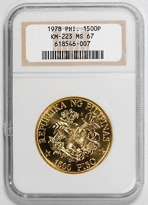 1978 Gold Philippine 1500 Piso NGC MS67 - (KM-223) - MINTAGE 3,000!!