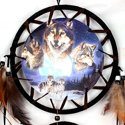 Wolf Handmade Dream Catcher Decoration Ornament Feathers Car Wall Hanging US