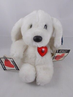 """Applause White Dog Plush Sweetheart Serenades 9"""" Red Heart"""