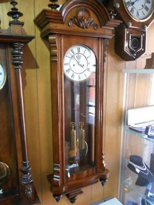 Antique Two Weight Striking Vienna Regulator Wall Clock in Oak Case