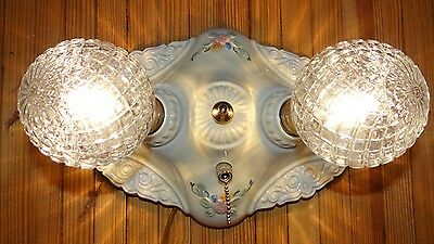 Antique Porcelier porcelain 2 bulb floral flush mount ceiling light fixture