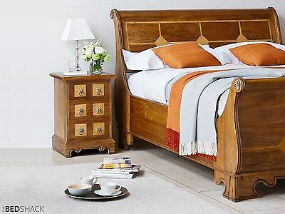 French Louis Style Solid Mango Wood Sleigh Bed (King, Superking)