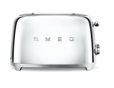 Smeg TSF01SSUK Toaster 50s Retro Style with 2 large slots - CHROME 12082