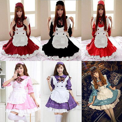 Womens Halloween Anime Cosplay Maid Costume Lolita French Babydoll Dress Uniform