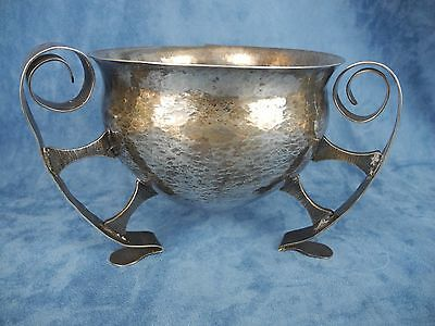 Arts & Craft  .900 Columbian Hammered Silver Bowl on Three Legs