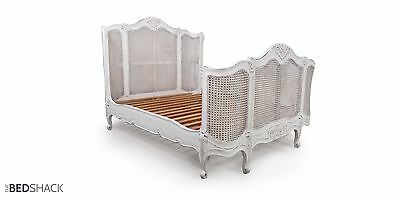King White Hand Crafted Shabby Chic French Curved Cane Rattan Bed