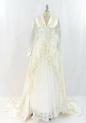 Vtg 50s Emma Domb Ivory Satin Wedding Gown Lace Trim Train Net Petticoat Sz 4