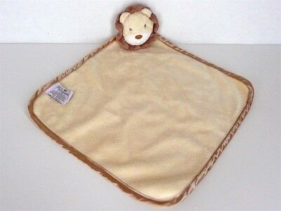 Nat and Jules Lion Baby Blanket Yellow Brown Satin Trim Security Lovey