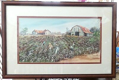 """Original Water Color """" The Cotton Pickers"""" Framed Under Glass Sgn. J. Hartsfield"""