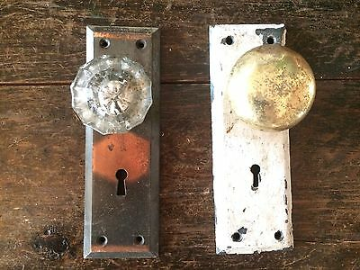 Shabby Chic Antique Glass Door Knobs Face Plates #5