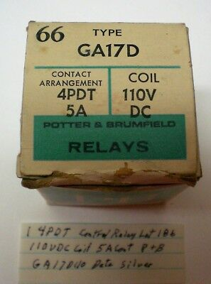 1 New Control Relay 4PDT, 110V DC Coil, Potter Brumfield #GA17D110, Lot 186, USA