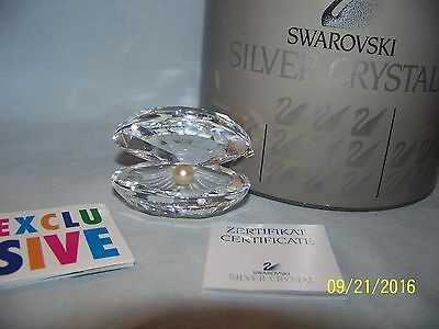 Swarovski Crystal Large Clam Oyster Shell & Pearl New In Box Retired 7624Nr55000