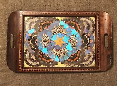 Serving Tray with handles; Vintage Brazilian Inlaid Butterfly Art