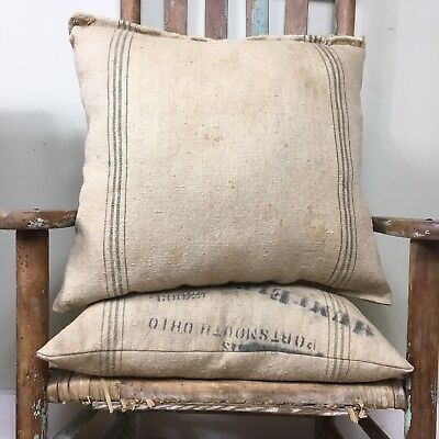 Antique Grain Sack Pillow Worn Grungy Primitive Early AAFA Vtg Old 18x18