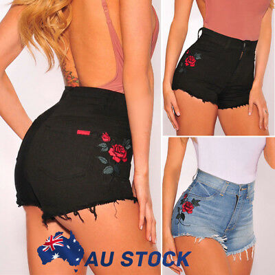 AU Womens Summer High Waisted Denim Blue Shorts Jeans Summer Hot Pants 6 8 10 12