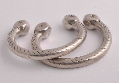 Rare vintage Egyptian Ethnic Bedouin Silver Nubian SMALL Bracelets Cuff Pair