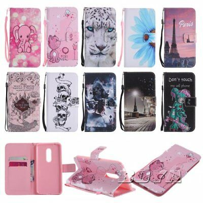 For ZTE LG PU leather phone case wallet elephant pattern strap magnetic stand