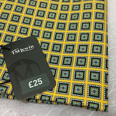 Mens T.M.LEWIN Silk GOLD NAVY BLUE Hand Rolled FOULARD TOP POCKET SQUARE Gift