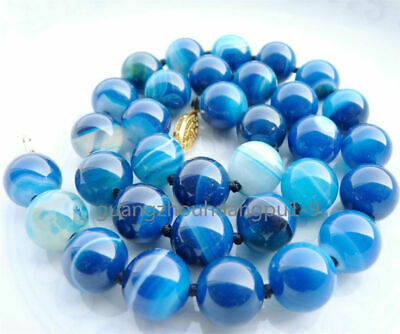 10Mm Antique Art Deco Genuine Rare Blue Chalcedony Agate Beads Necklace Aa