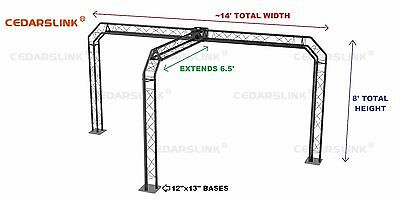 Trade Show Booth, Trusses DJ Stage 14' X 8' X 6.5' Metal Truss Triangle Trusses