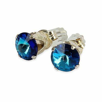 Sterling Silver 6mm Sapphire Blue Stud Earrings Made With Crystal From SWAROVSKI
