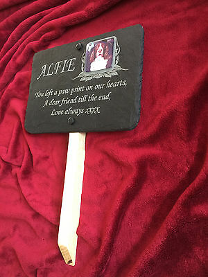 Pet Photo Memorial Slate Grave Marker Personalised Bespoke Plaque, Post Optional