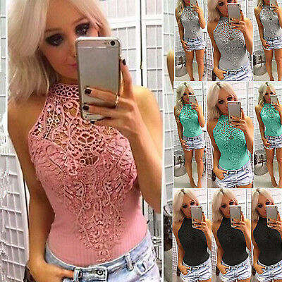 AU Womens Choker Lace Sleeveless Bodysuit Stretch Summer Party Leotard Tops Sexy