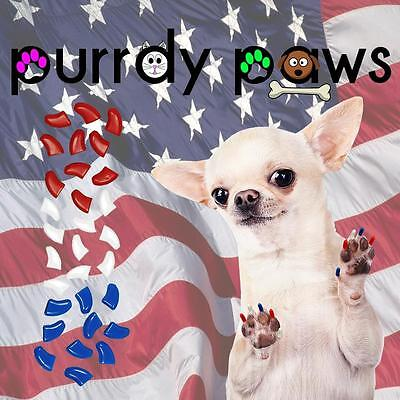 Soft Nail Caps For Dog Claws ( USA Flag Combo )  Purrdy Paws * 6 Sizes up to XXL