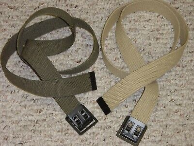 2 BELTs WEB MILITARY ARMY USMC STYLE  GREEN & KHAKI BUCKLE w/ P38 CAN OPENER