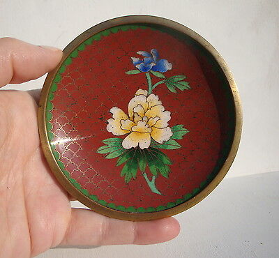 Antique Cloisonne Red Floral Small Dish China